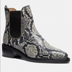 NEW Coach Bowery Snakeskin Chelsea Ankle Bootie 9